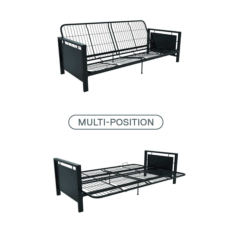Amazon.com: DHP Henley Metal Arm Futon Frame, Industrial Loft Design ...