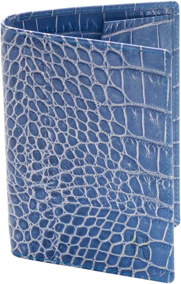 David Hampton Luxury Blue Crocodile Print Leather Passport Cover