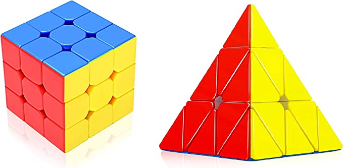 D ETERNAL Rubiks Rubix Rubic Cube Combo Set of 3x3x3 and Pyraminx Pyramid Triangle High Speed Stickerless Magic Puzzle Cube