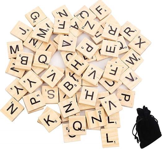 JBR 100 Unidades Madera Letras Scrabble Perlas Scrabble Azulejos para Jugar pädago gisches Aprendizaje Juguete: Amazon.es: Juguetes y juegos