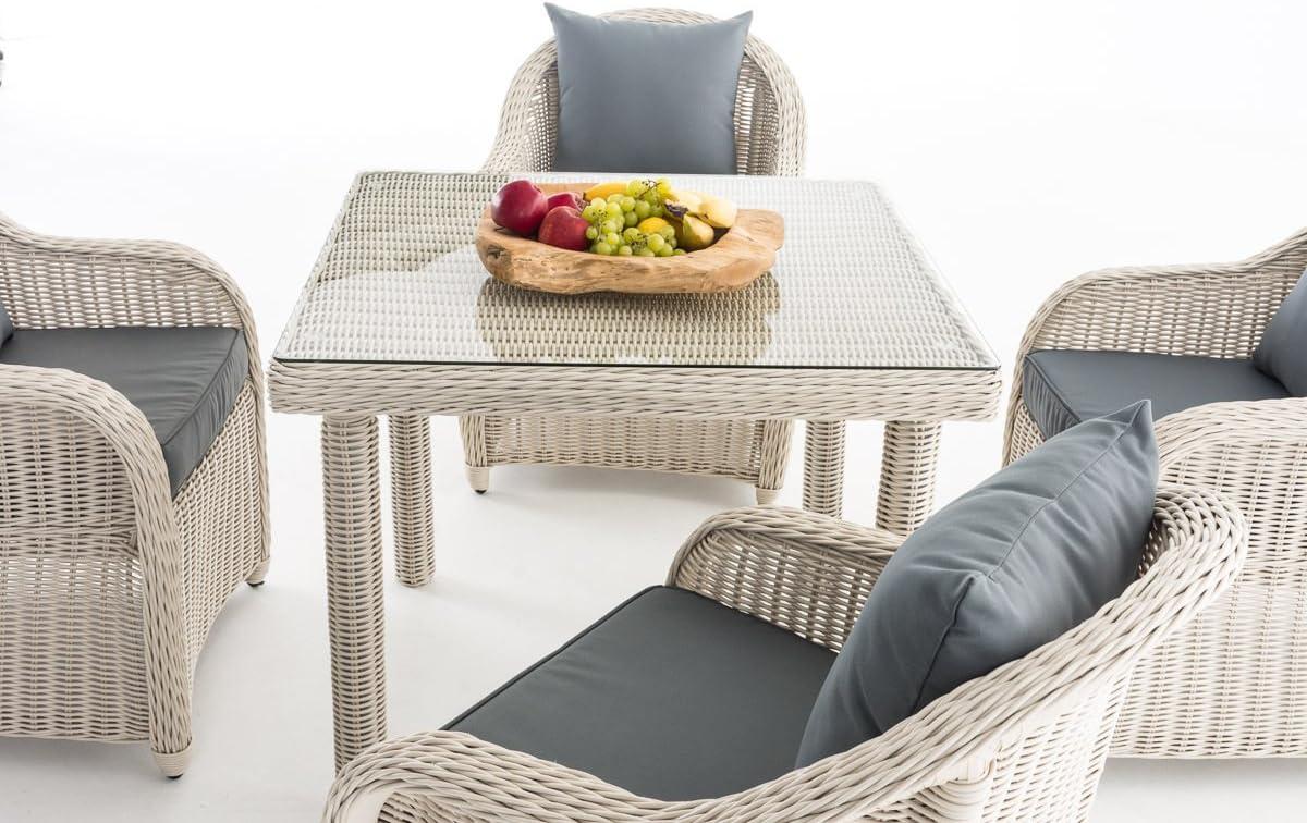 CLP Mobiliario de jardín San Juan XL | Asiento Grupo con 4 asientos | Juego de muebles de jardín de ratán | – Set completo de comedor con 4 sillas y una |