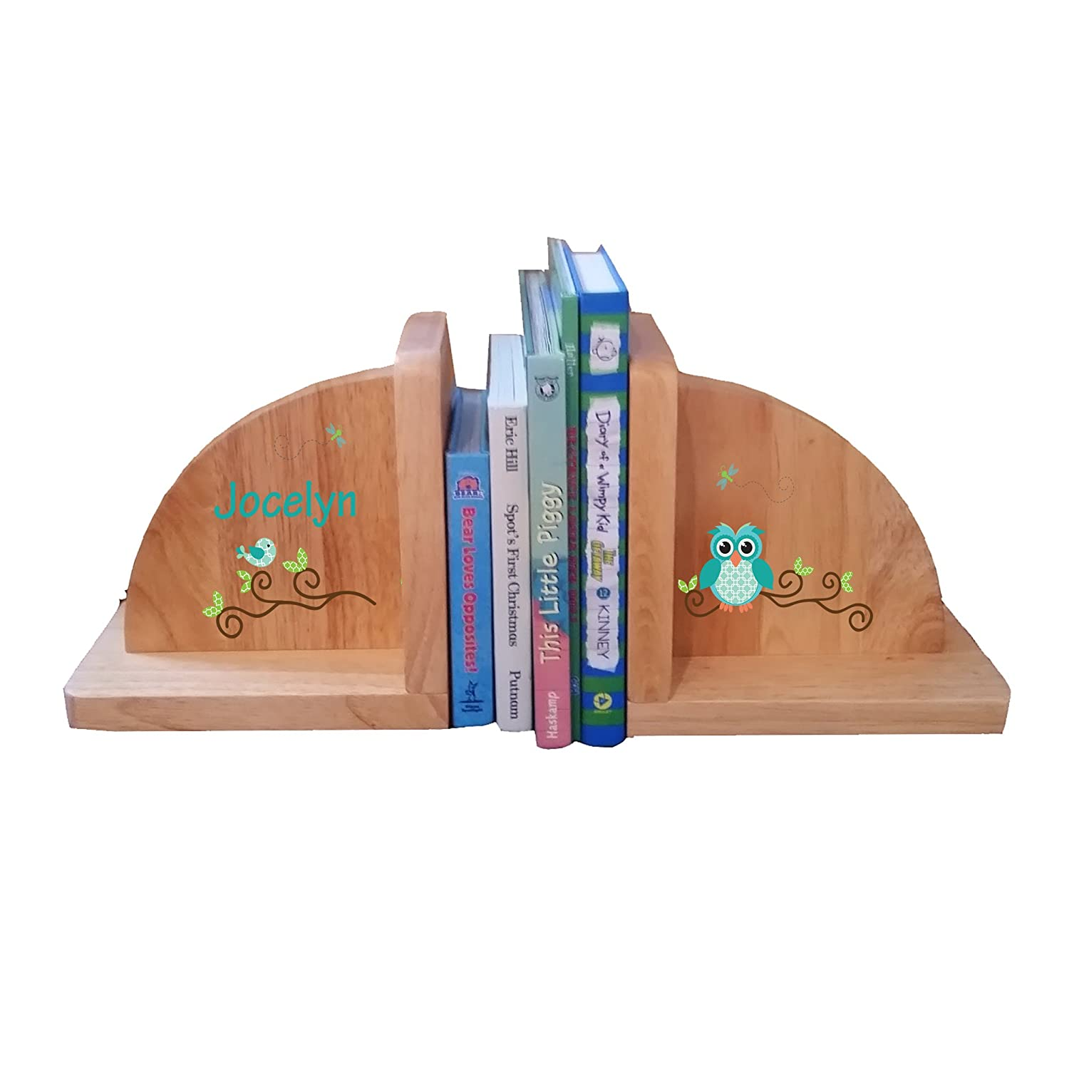Personalized Gingham Owl Natural Childrens Wooden Bookends MyBambino ENDS-nat-PT-234