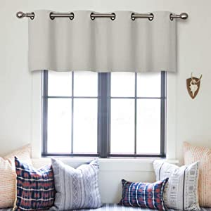 Valance Curtains Greyish White 16 inches Long Kitchen Curtain Valances Living Room Darkening Bathroom Small Window Treatment 1 Panel Grommet Top