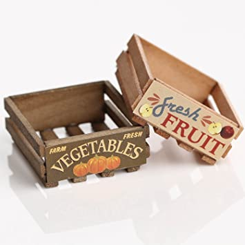 Package Of 3 Miniature Fruit Or Vegetable Wooden Crates For Dollhouses Crafting And Embellishing