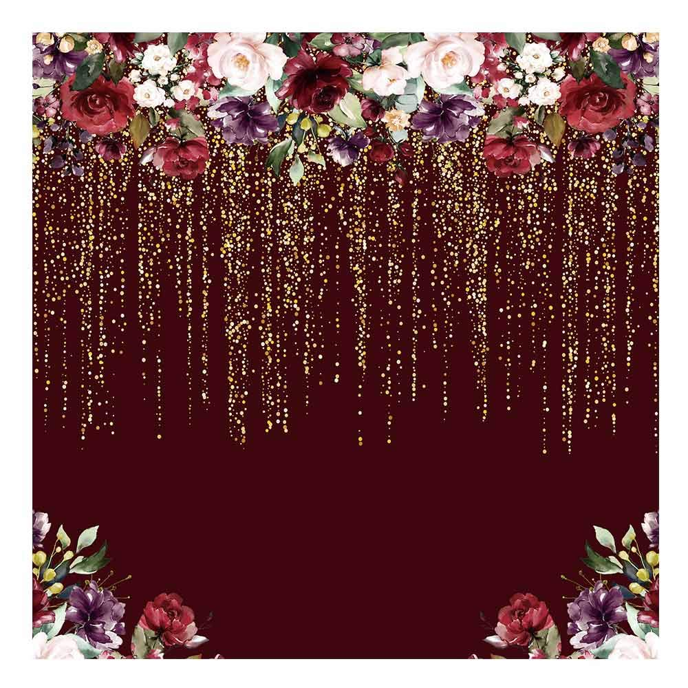 Funnytree 6x6ft Burgundy Red Flowers Backdrop Golden Glitter Floral Birthday Party Photography Background Bachelorette Bridal Shower Wedding Girl Adults Anniversary Decorations Banner Photo Studio