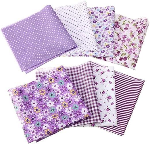 8Pcs Assorted Colorful 100/% Cotton Fabric Pre-Cut Bundle DIY Decor 25x25cm