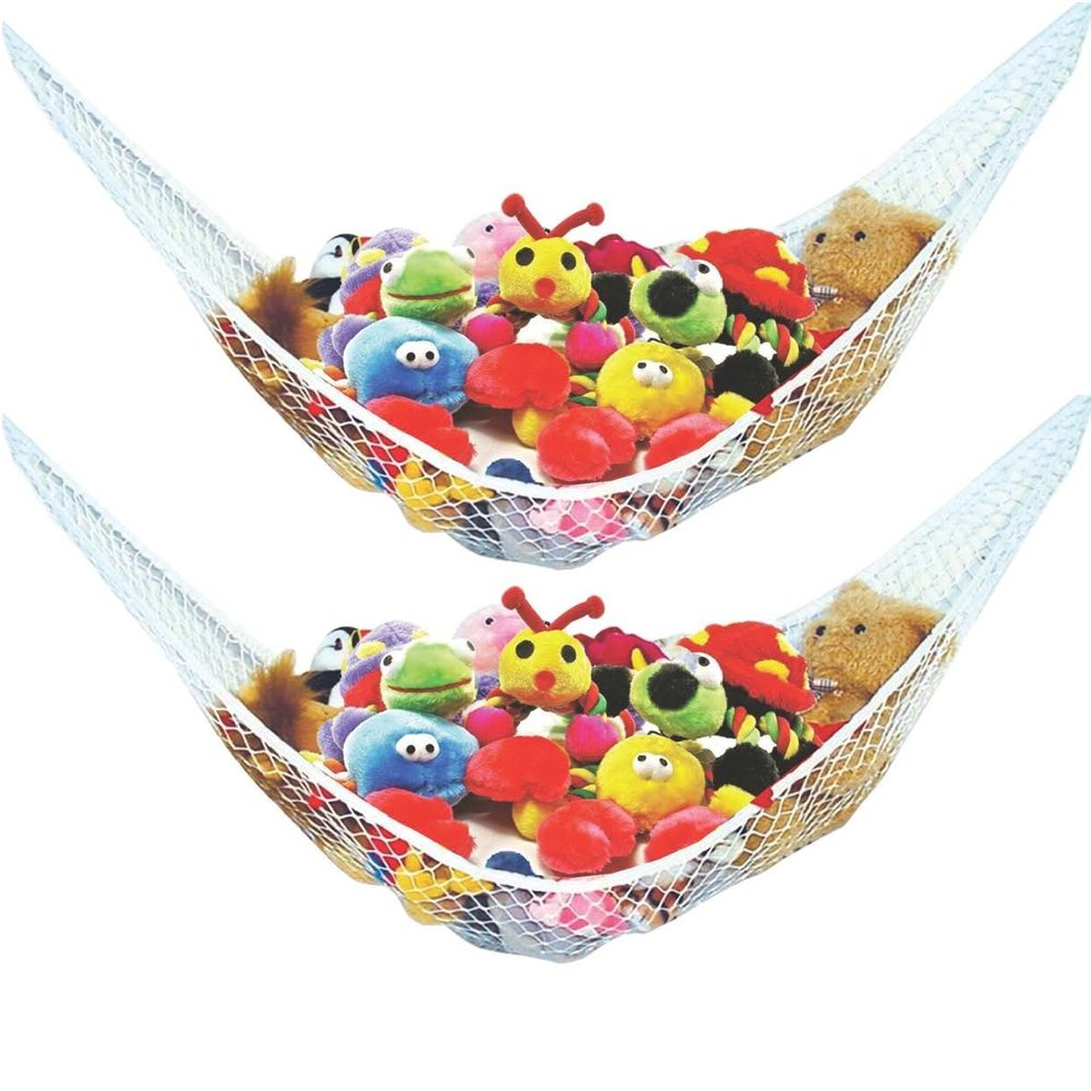 Stuffed Animal Toy Hammock - Best for Keeping Rooms Clean, Organized and Clutter-Free - Comes with Bonus Free E-Book, Toy Organizer Storage Net is Durable and Easy to Install (Two Pack) by Enovoe