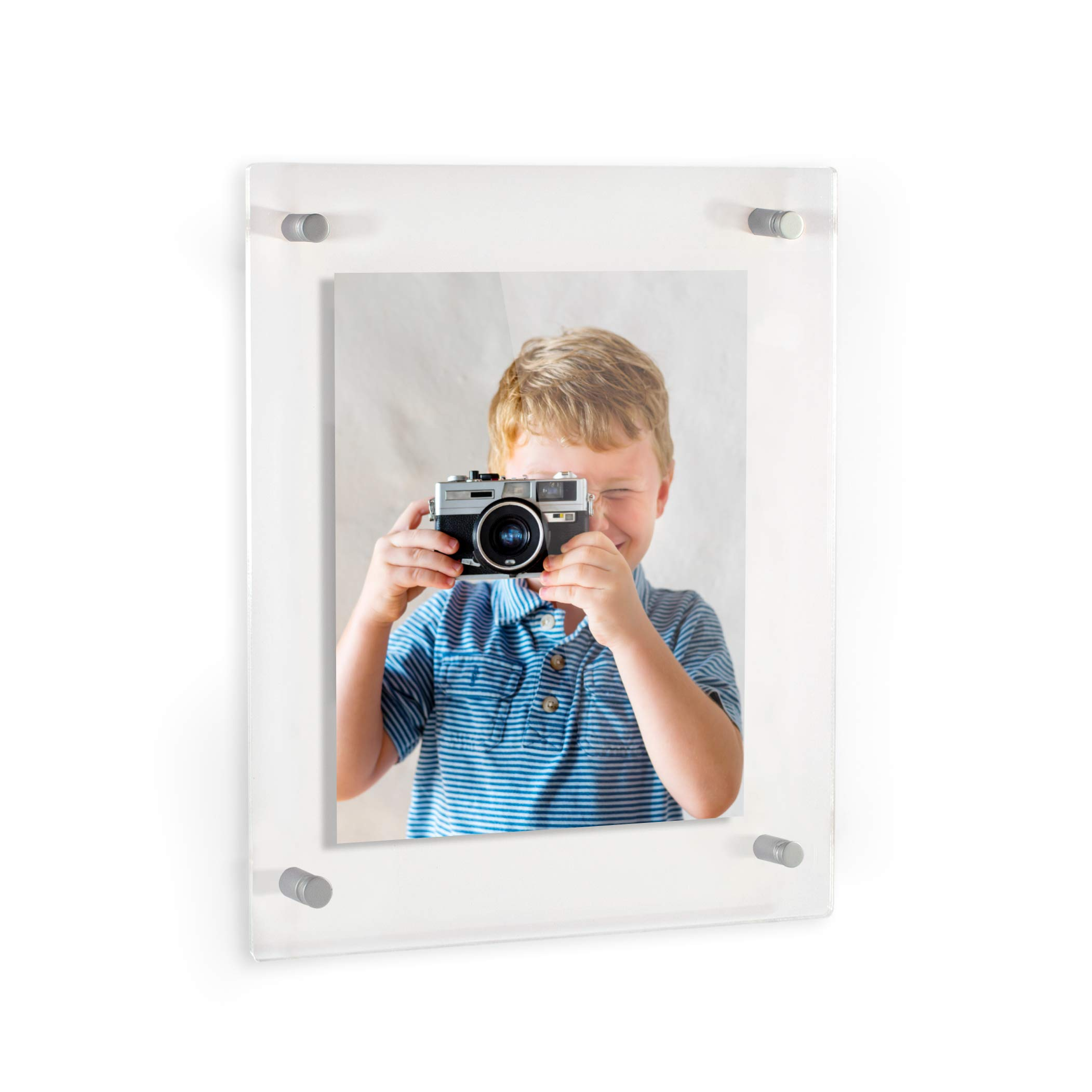 ArtToFrames Floating Acrylic Frame for Pictures Up to 16x20 inches (Full Frame is 20x24) with Muted Chrome Standoff Wall Mount Hardware, Acrylic-109-16x20-70
