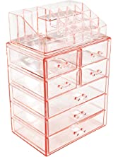 Sorbus Acrylic Cosmetic Makeup and Jewelry Storage Case Display, Pink