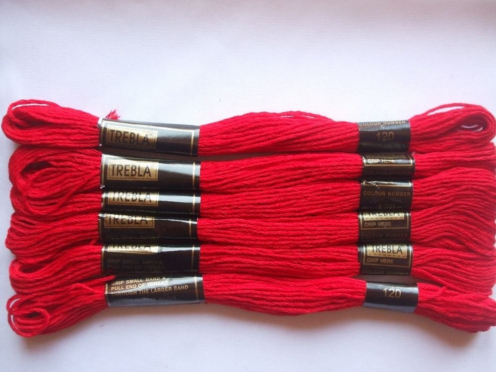 120 Col 8m Pack of 6 Trebla Embroidery Thread // Skeins Christmas Red