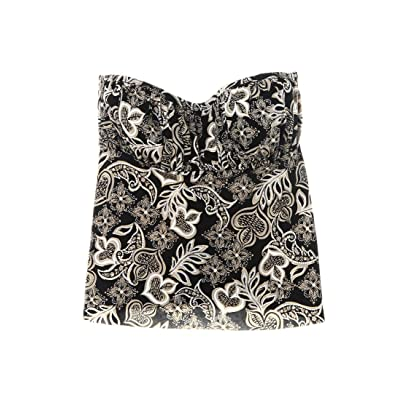 Swim Solutions Women's Paisley Print Bandeau Foil Tankini Top, 16 Black at Women's Clothing store