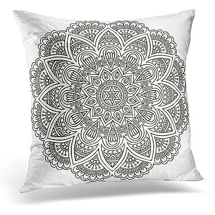 Amazon.com: Throw Pillow Covers Black Yoga Mandala Round ...