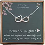 EFYTAL Mom Gifts, 925 Sterling Silver Infinity with Heart Necklace for Mother & Daughter, Mom Necklaces for Women, Best Birth