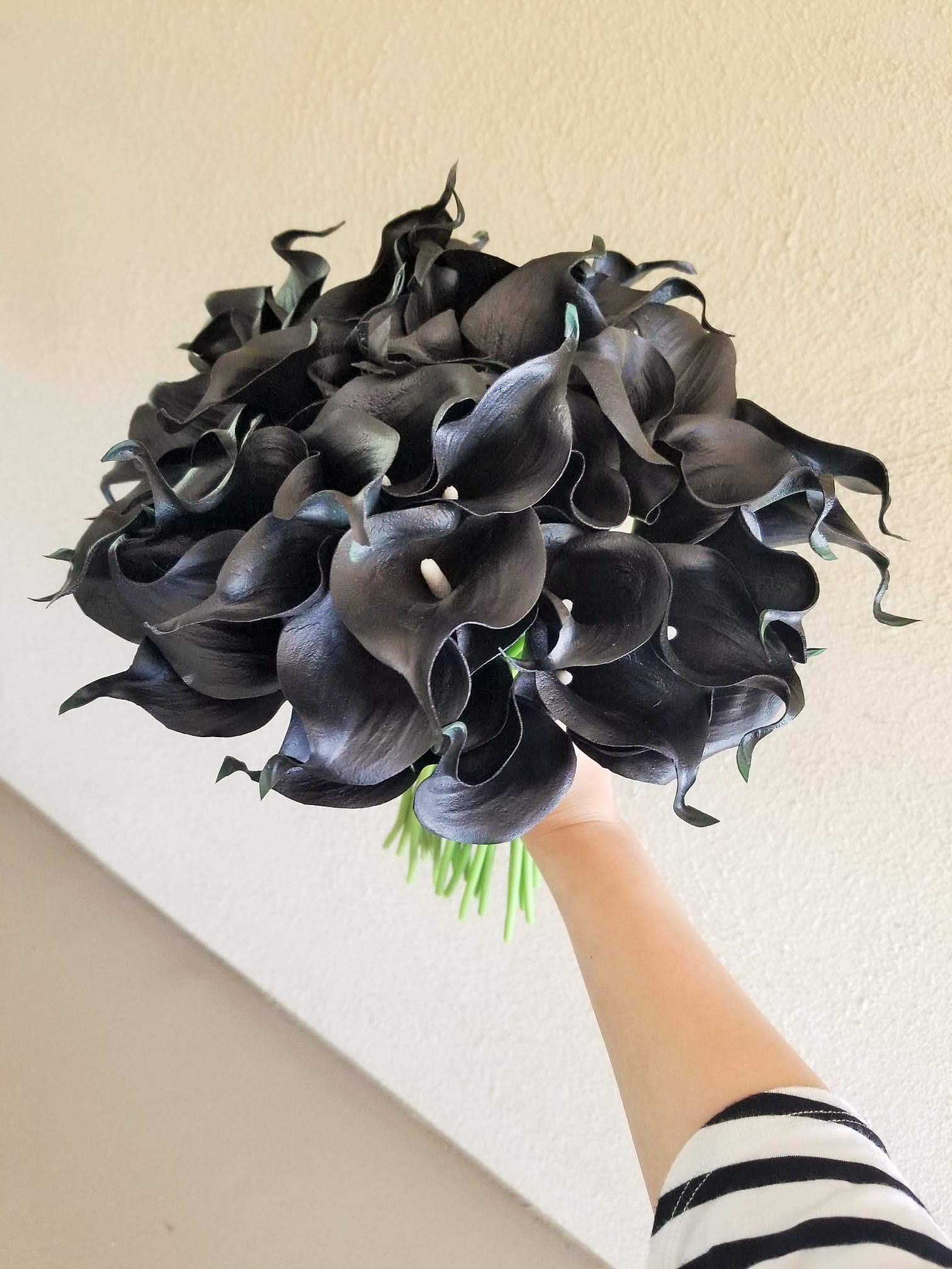 Floral Kingdom 18 PCS 14″ Real Touch PU Latex Artificial Calla Lily Flowers for Wedding Bouquets, centerpieces, and Floral Decor (Black)