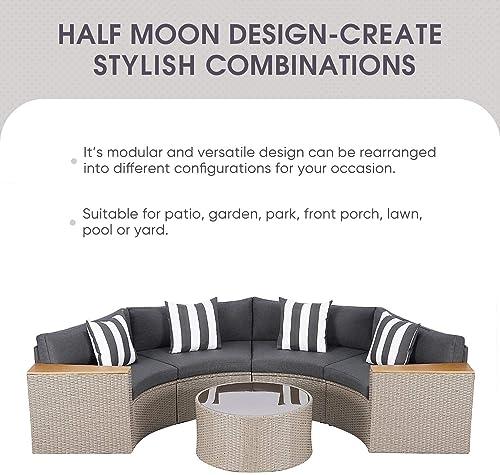 Incbruce Outdoor 5-Piece Sectional Patio Furniture Half-Moon Sofa