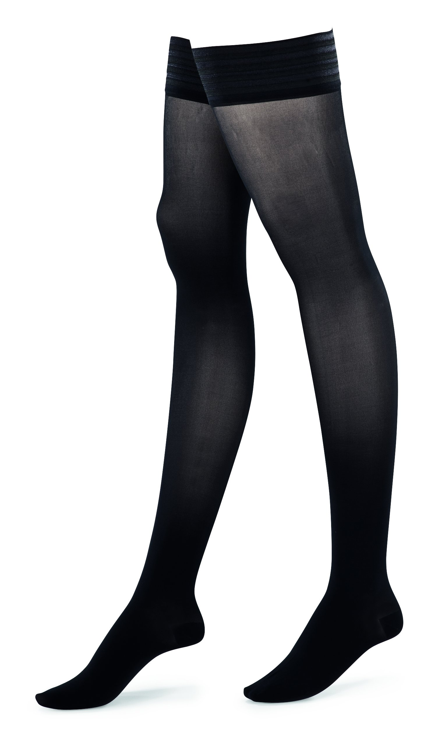 ITEM m6 Women's Compression Stay-Up Translucent Thigh High Stockings, Black, Large, Tall