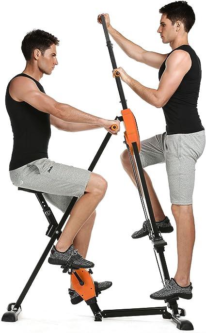 2 En 1 Maquina de Step de Fitness con Pantalla Escaladora Vertical y Bicicleta Estatica Plegable para Hacer Ejercicio Climber Deporte para Gimnasio en Casa, Maquina Trepping, Altura Ajustable, Unisex (EU STOCK):