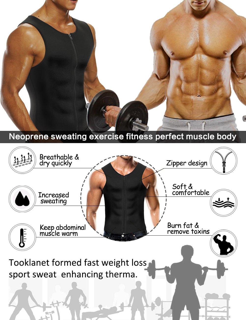 Mens Body Shaper Waist Trainer Sauna Suit Zipper Closure Weight Loss Tank Top Corset Neoprene Workout Shirt