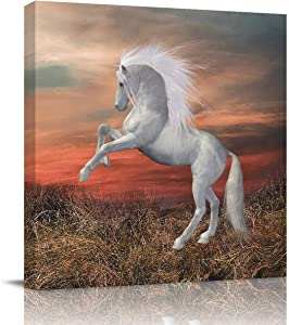 Canvas Prints Wall Art Oil Paintings Wall Decor White Horse Jumps up at Dusk Picture on Canvas Stretched Modern Artwork for Livingroom Bedroom Office 12x12in