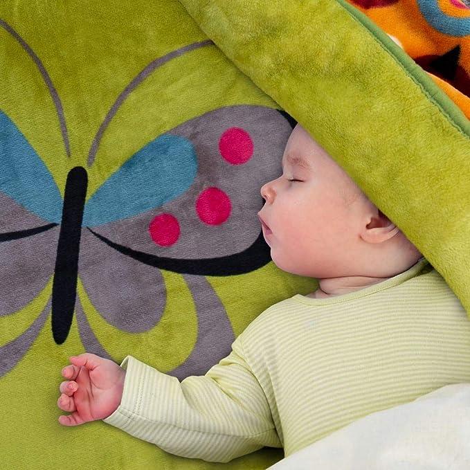 Paco Home Decke Kinderdecken Schmetterlinge Grün Rosa Butterfly Kuscheldecke Spieldecke, Grösse:155x215 cm