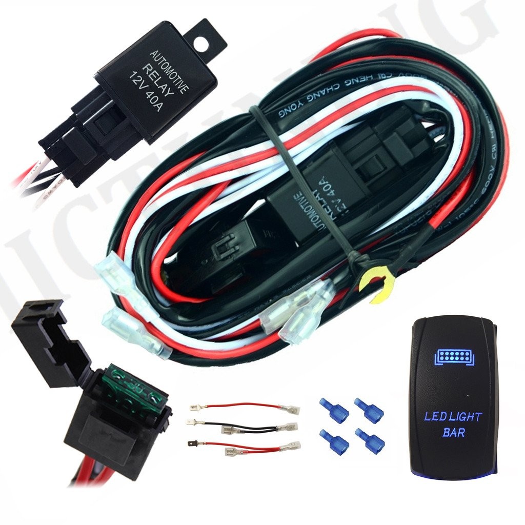 Mictuning Universal 12ft 2 Lead Normal Wiring Harness Automotive Kit For Led Light Lamp Include 40 Amp Relay On Off Rocker Switch And Kits