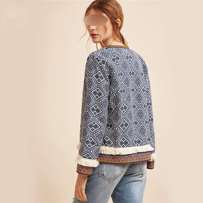 Tribal Embroidered Jacket Blue Vintage Fringe Tape Trim Women Autumn Coat