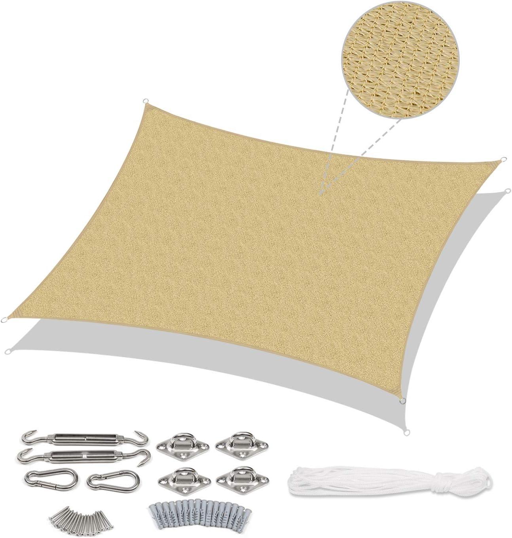 Sekey Toldo Vela de Sombra Rectangular HDPE Protección Rayos UV Resistente Permeable Transpirable para Patio, Exteriores, Jardín, 2× 3m Arena, con Cuerda Libre y Kit de Montaje: Amazon.es: Jardín