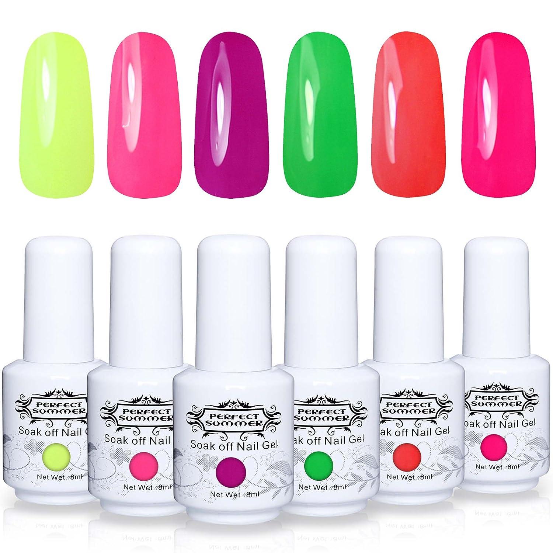 Amazon Com Perfect Summer Gel Nail Polish Starter Kit 6pcs Neon