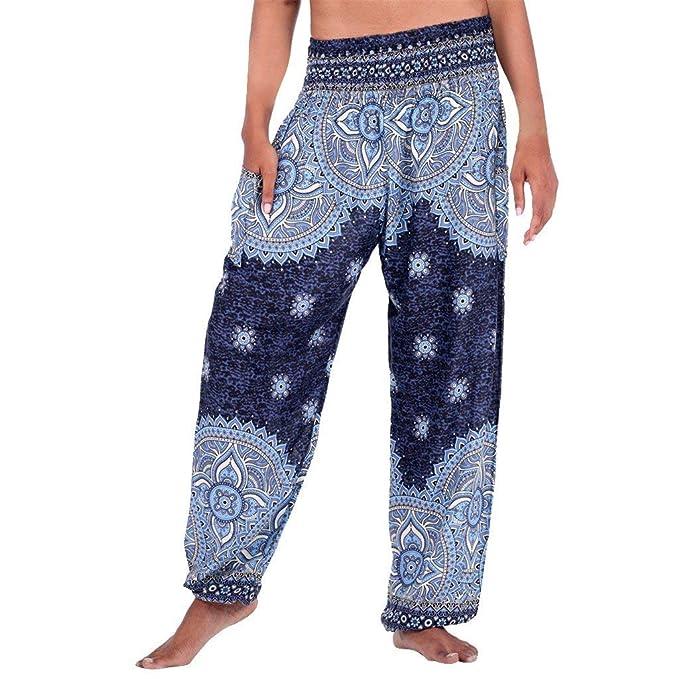 RYTEJFES Pantalones Cintura Alta Mujere Ancho Casuales Estampado Fluidos Pierna Leggings EláStico Pantalones HaréN De La India Danza Yoga Hippie ...