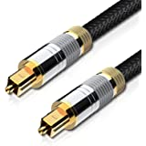 Techole Optical Audio Cable, 6ft Fiber Optic Audio Cable with Durable 24K Gold-Plated, Nylon Braided Male to Male Optical Dig