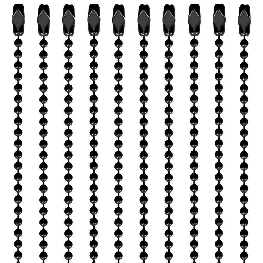 30 Inch Black Coated #3 Ball Chain Necklaces 10 Count Ball Chain Manufacturing Co. Inc. BC3-30INCH-BLACK-010