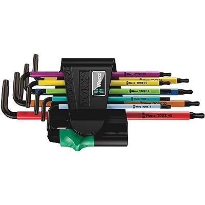 Wera 05073599001 967 Spkl/9 Torx Bo Multicolor L-Key Set for Tamper-Proof Torx Screws, Blacklaser, 9 Pieces: Star Drive Screwdrivers: Industrial & Scientific