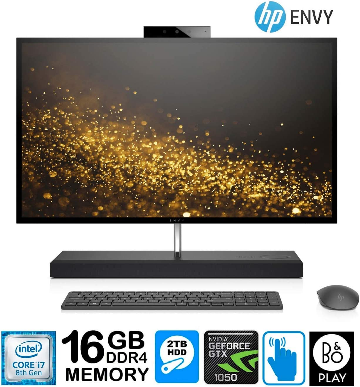 "HP Envy 27 All-in-One Core i7-8700T 16GB 2TB HD 27"" QHD Touchscreen GTX1050 4GB (Renewed)"
