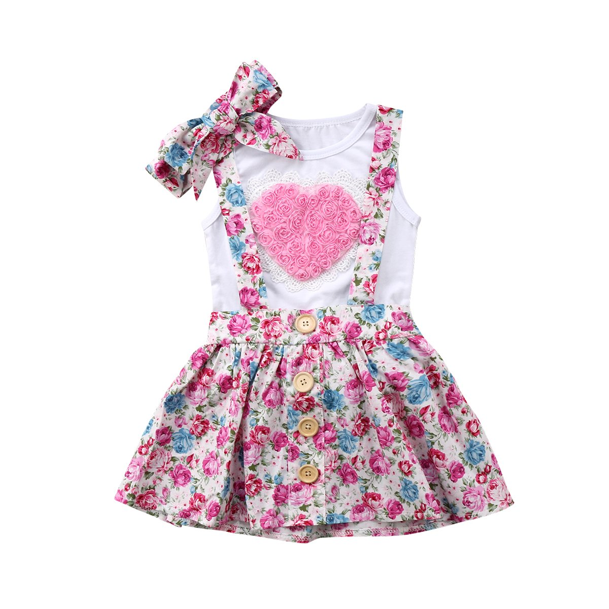 Toddler Baby Girls Sister 3D Floral Heart Vest Short Ruffle Lace Dress Set with Headband 3PCS