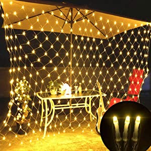 LED Fairy String Lights Twinkle Net Light Firefly Starry Super Bright 8Lighting ModesController Christmas Tree Wedding Party Garden Yard Lawn Patio Decoration Curtain Lights (Warm White, 6.6X9.8ft)