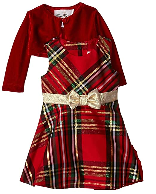 Rare Editions Christmas Dresses.Rare Editions Little Girls Plaid Bow And Velvet Jacket Holiday Dress