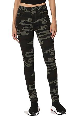 330b879082d27 TheMogan Junior s Camo Print High Waist Stretch Ponte Knit Skinny Pants  Olive S