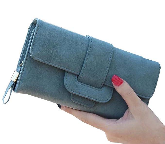 80885f20f9f4d DNFC Geldbörse Damen Portemonnaie Lang Portmonee Elegant Clutch Handtasche  Groß Geldbeutel PU Leder Geldtasche mit Reißverschluss und Druckknopf für  Frauen ...