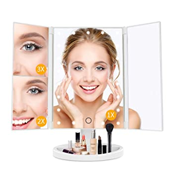 LED Makeup Mirror Vanity Mirror with Lights, Personal Lighted Makeup Mirror, 1X/2X/3X Magnification, Tabletop Makeup Mirror ,Two Power Supply Model 180° Rotation Light Up Mirror,Women Gift