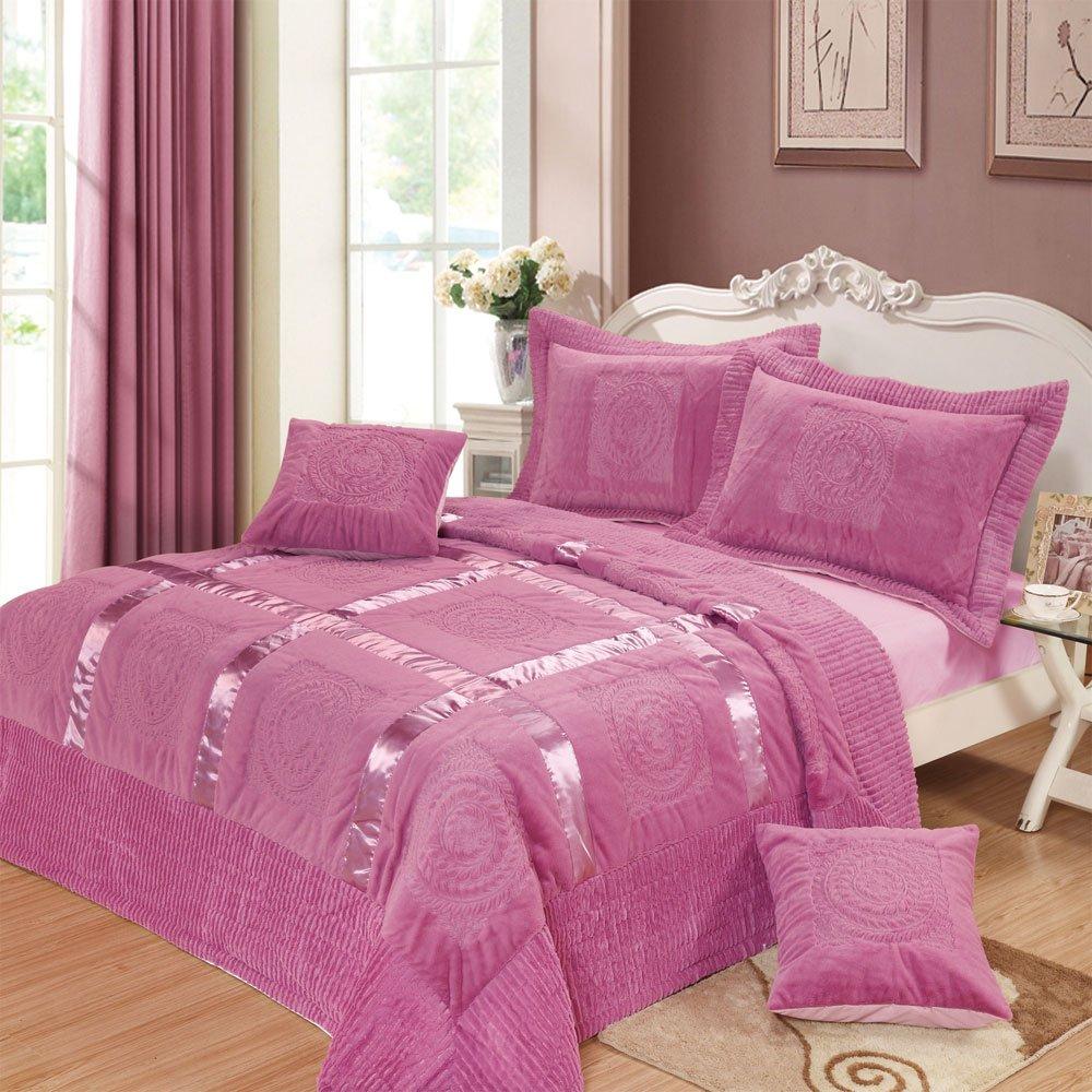 DaDa Bedding YG1002K Mushy Ribbon Paisley 5-Piece Bedspread Set, King, Purple