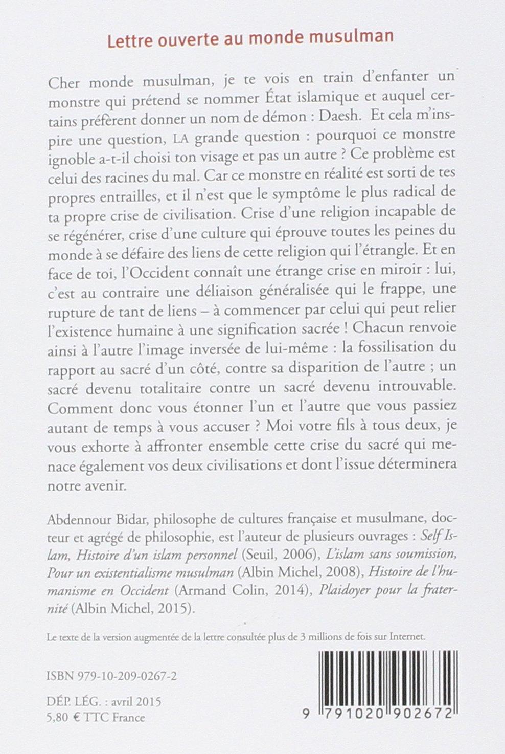lettre ouverte au monde musulman Lettre ouverte au monde musulman: Amazon.fr: Abdennour Bidar: Livres lettre ouverte au monde musulman