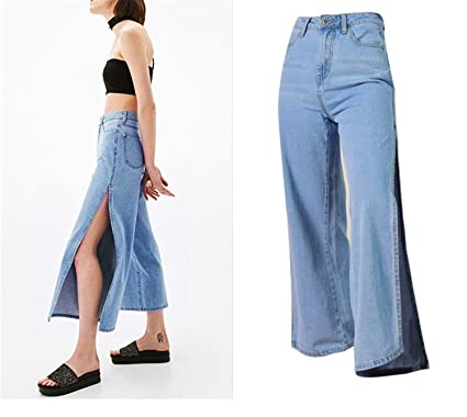 939528a2f828 Coumll Summer Denim Wide Leg Pants High Waist Loose Trousers Calf-Length  Jeans Pants Light