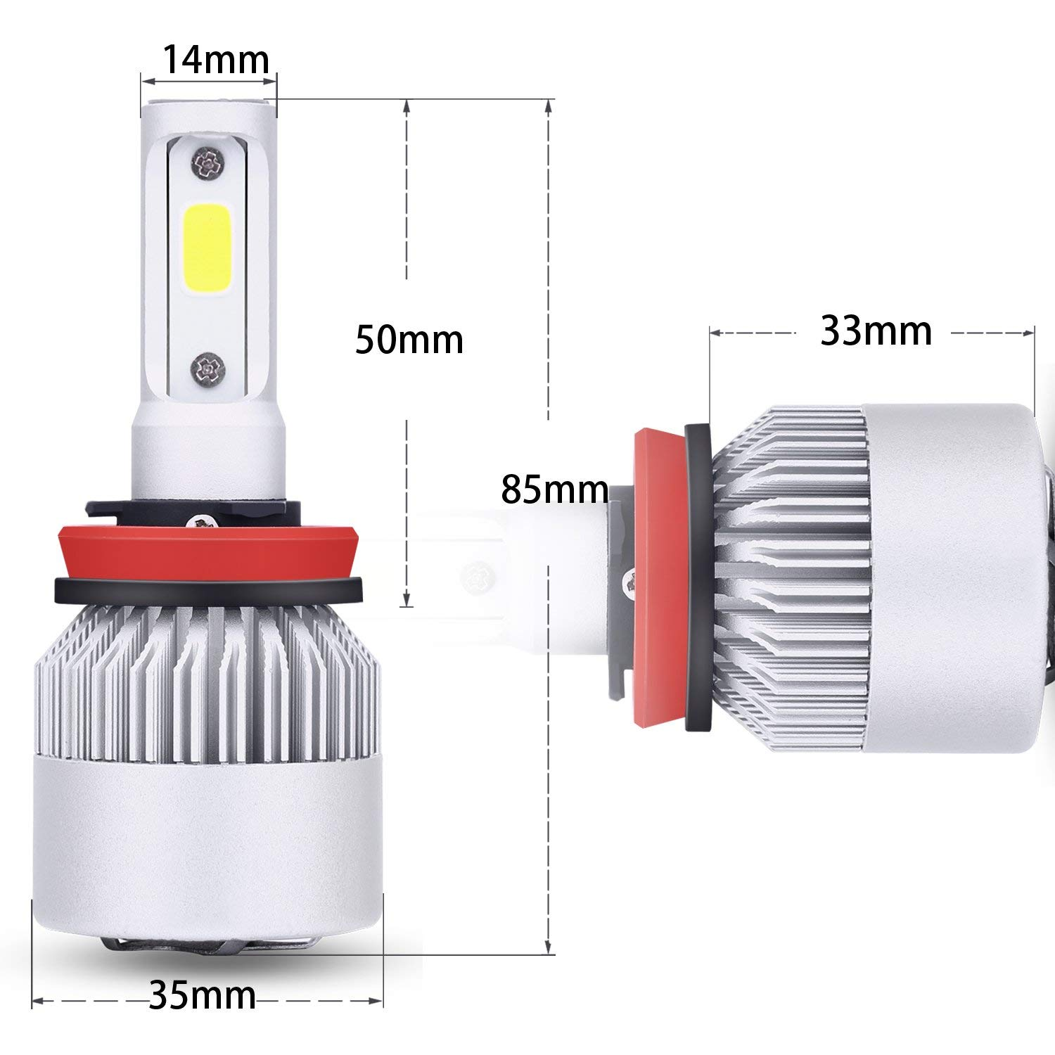 H8,H9 Led Headlight Bulb kirlor Led Car Lights with COB Chips 8000 Lumens 6000K Cool White Adjustable-Beam Bulbs IP65 Waterproof All-in-One Conversion Kit H11
