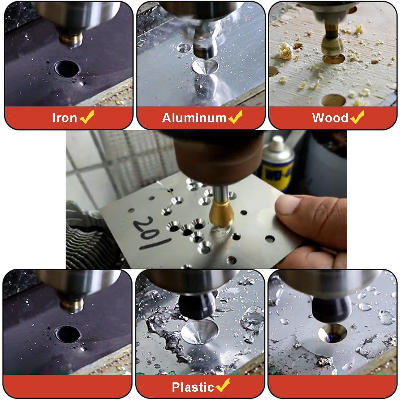 XT AUTO 4pcs 90' Degree Chamfer Drill Titanium Coated Countersink Deburring Drill Bit Set Crosshole Cutting Metal Wood Plastic Drill Bit
