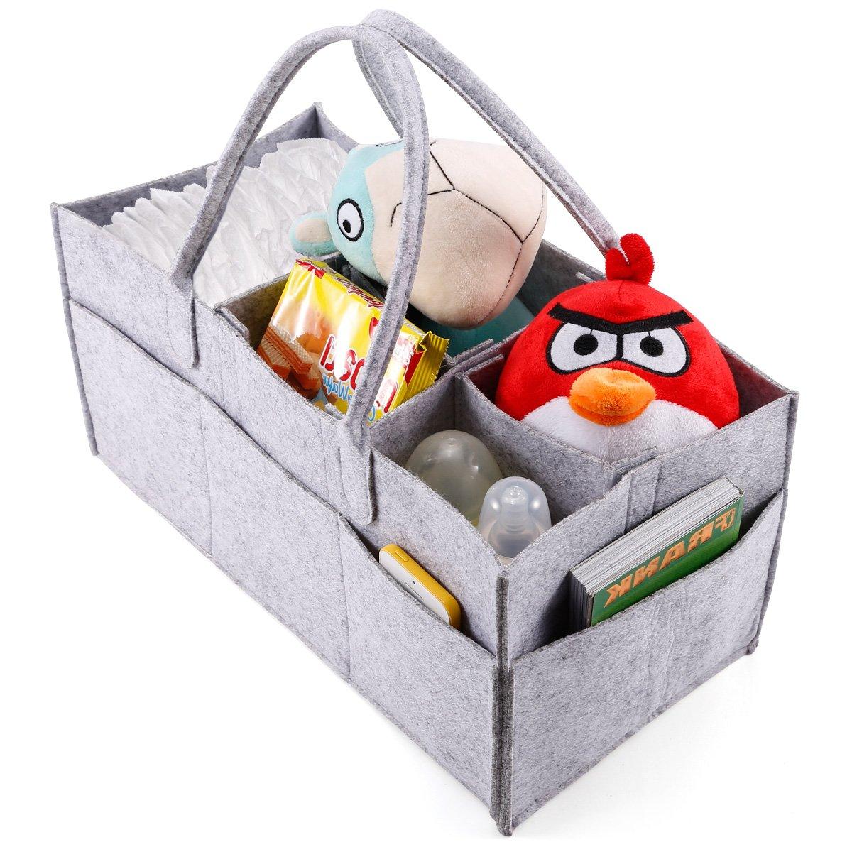 5Fächer tragbar Baby Organizer Tasche Windel Windel Flasche Wickeltasche Trennwand Aufbewahrungsbox Handtasche grau Anladia