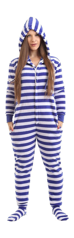 Funzee Nautisch, Strampler für Erwachsene mit Füssen Ganzkörperschlafanzug, Overall Pyjama, Einteiler, Jumpsuit, Schlafoverall in Körpergrößenabhängigen Unisexgrößen XS-XXL