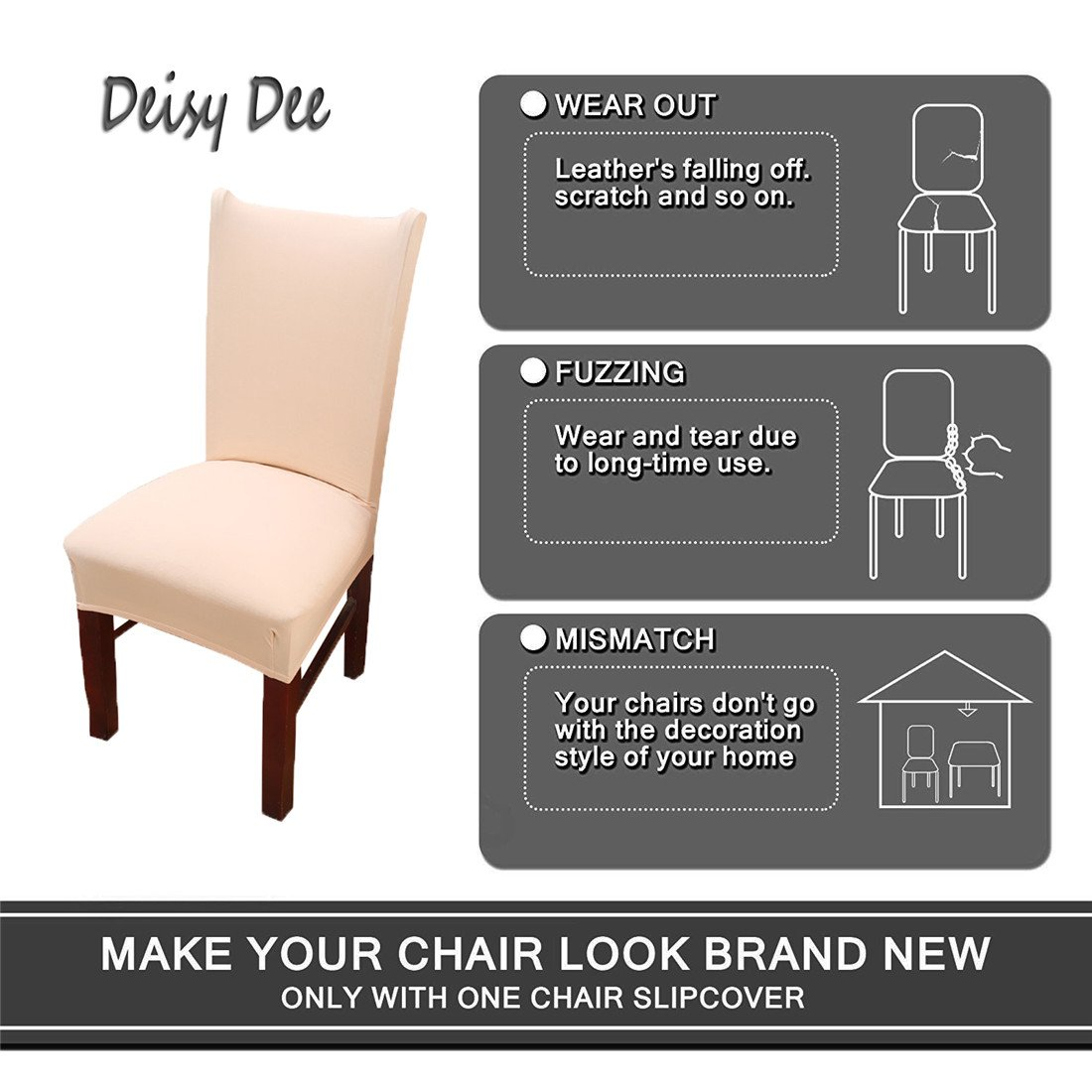 Deisy Dee Stretch Solid Color Chair Covers Removable Washable for Hotel Dining Room Ceremony Chair Slipcovers Pack of 6 C093 (Beige) by Deisy Dee (Image #3)