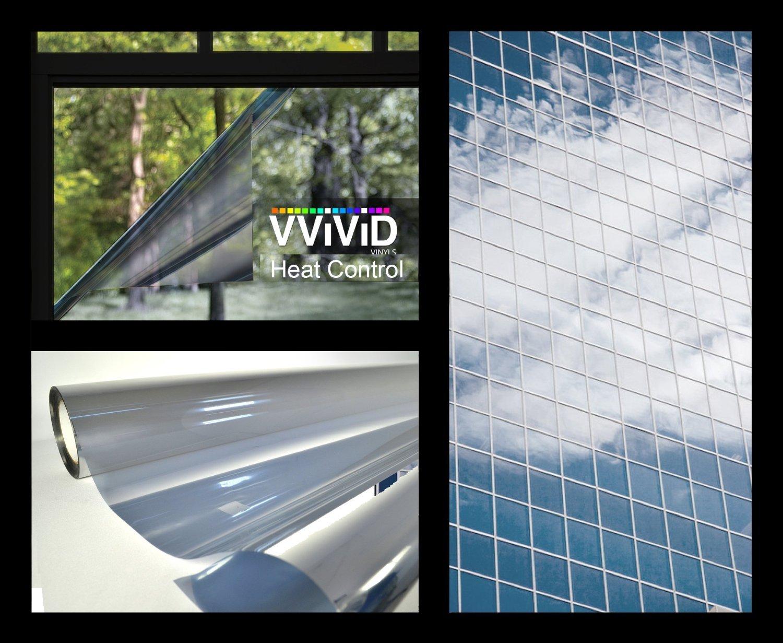 One-Way Silver Mirror Finish Static Cling Vinyl Window Wrap Film DIY Roll Various Sizes (1.49ft x 5ft) VViViD Vinyl