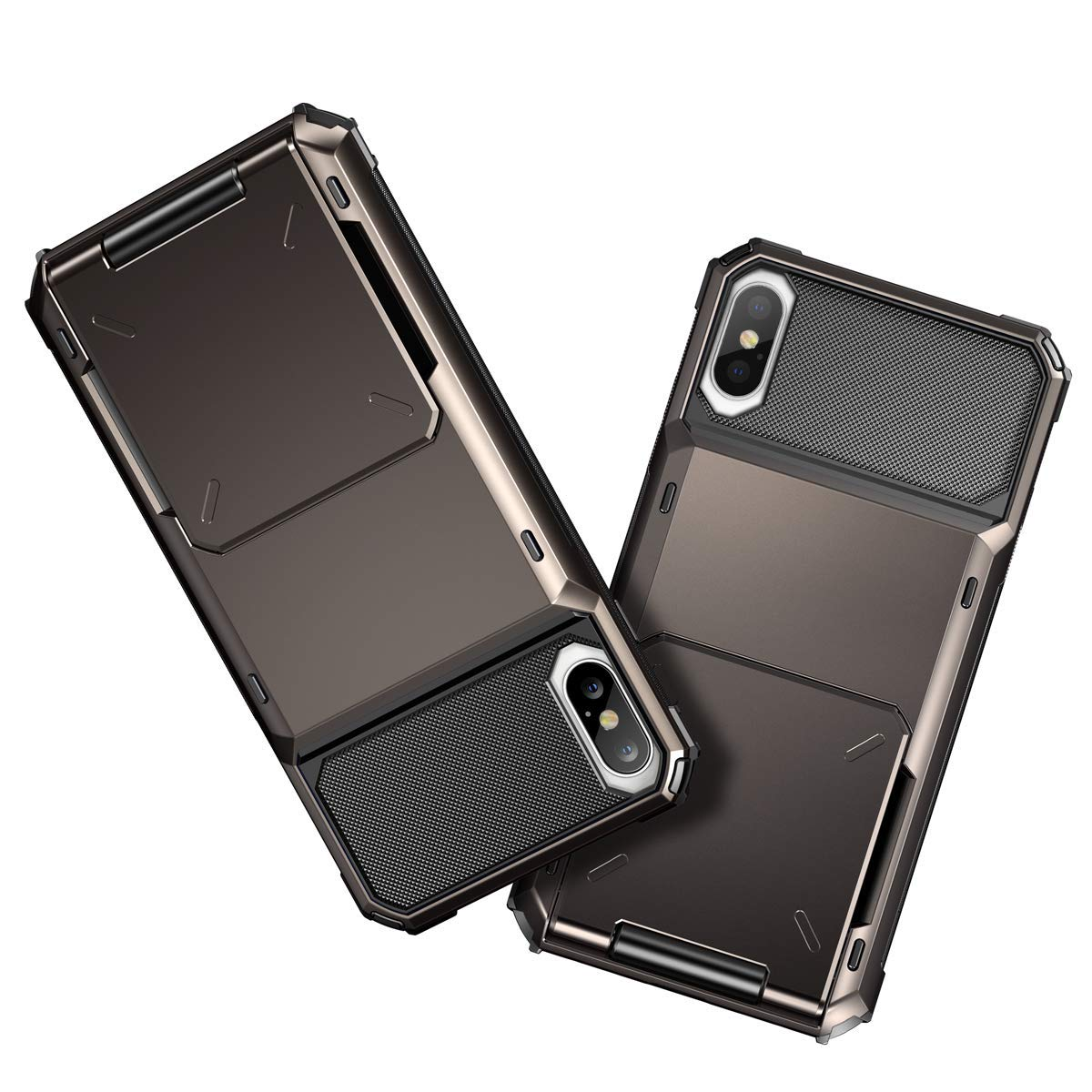 Coolden for iPhone XS Max Case with Card Slot Holder Case for iPhone XS Max Wallet Case Cover Shockproof Case Heavy Duty Hard Back Phone Case Protective Case Cover for iPhone XS Max Gun Color