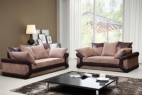 Dino - Sofás de 3 y 2 plazas, color marrón y beige: Amazon ...